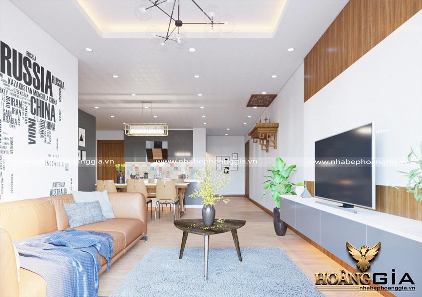 Thiết kế nội thất phòng khách bếp hiện đại 1