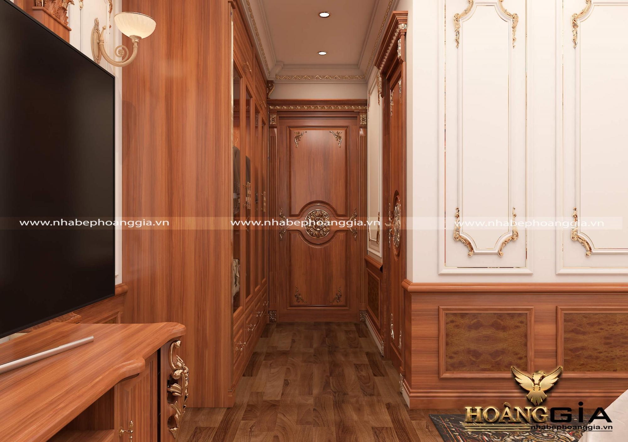 mẫu phòng ngủ tân cổ điển gỗ gõ đỏ