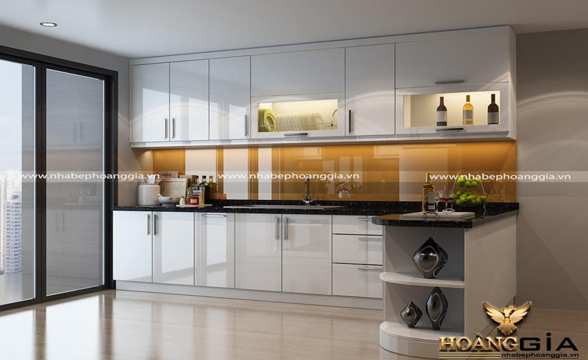 mẫu tủ bếp acrylic chữ L