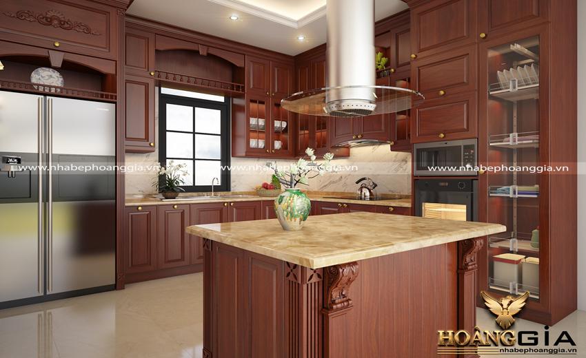 Thiết kế tủ bếp gỗ hương sang trọng ở Nhà Bếp Hoàng Gia