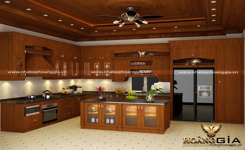 tủ bếp gỗ tự nhiên chữ L 2019