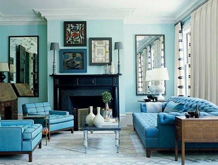 Phối hợp màu xanh dương với các màu khác trong thiết kế nội thất
