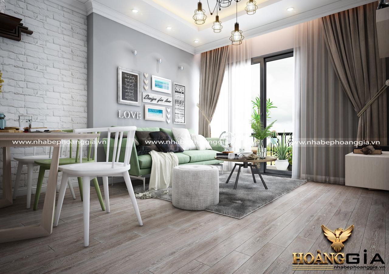 phòng khách chung cư đẹp với màu xi măng