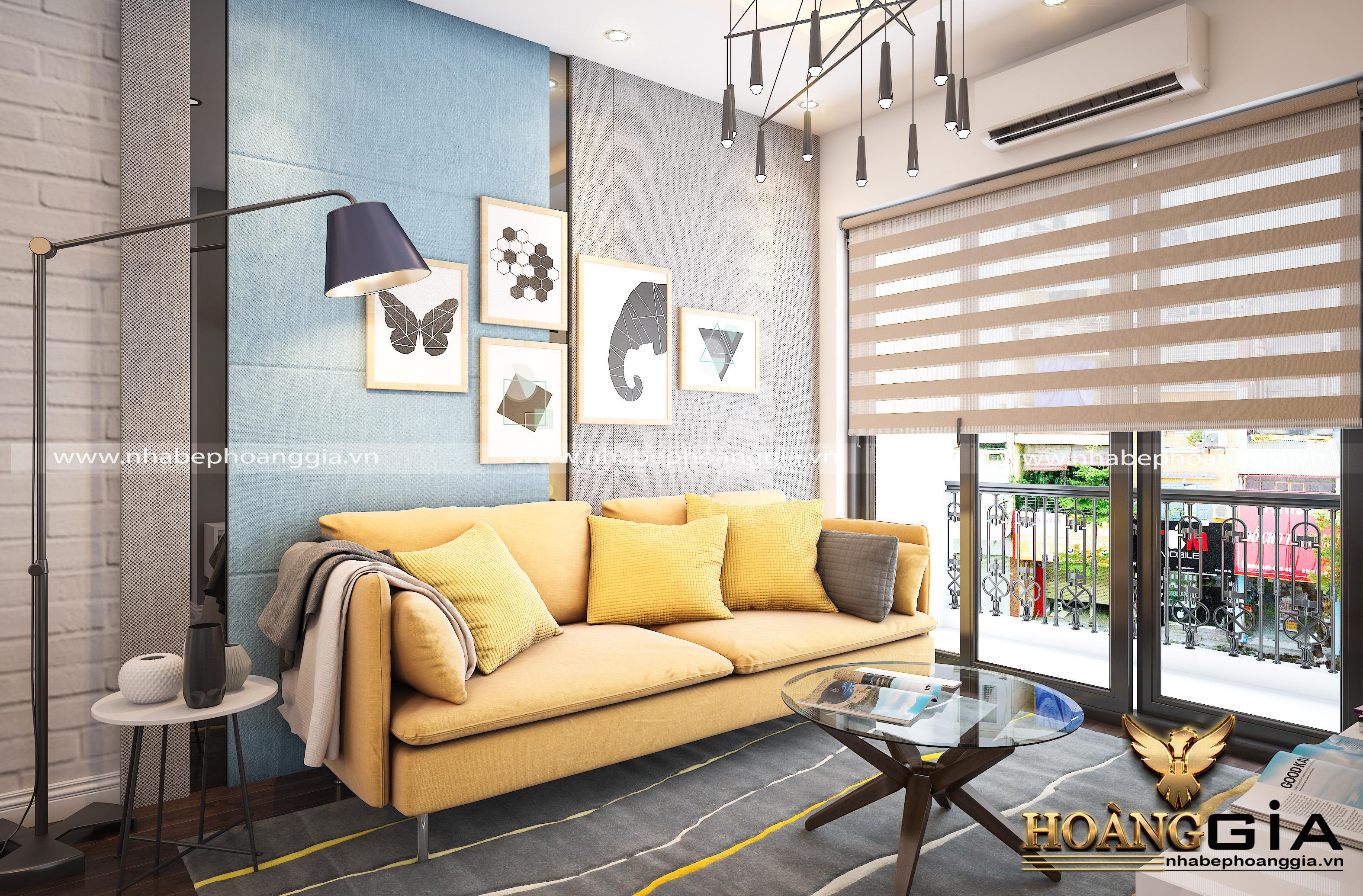 phòng khách với màu oải hương nhạt