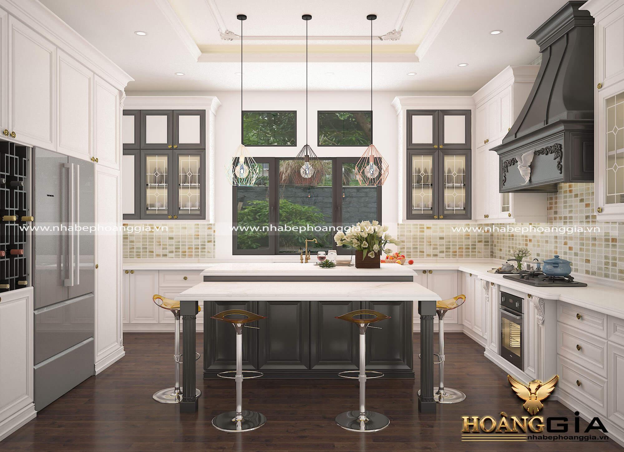 thiết kế tủ bếp tinh tế cho nhà bêp sang trọng