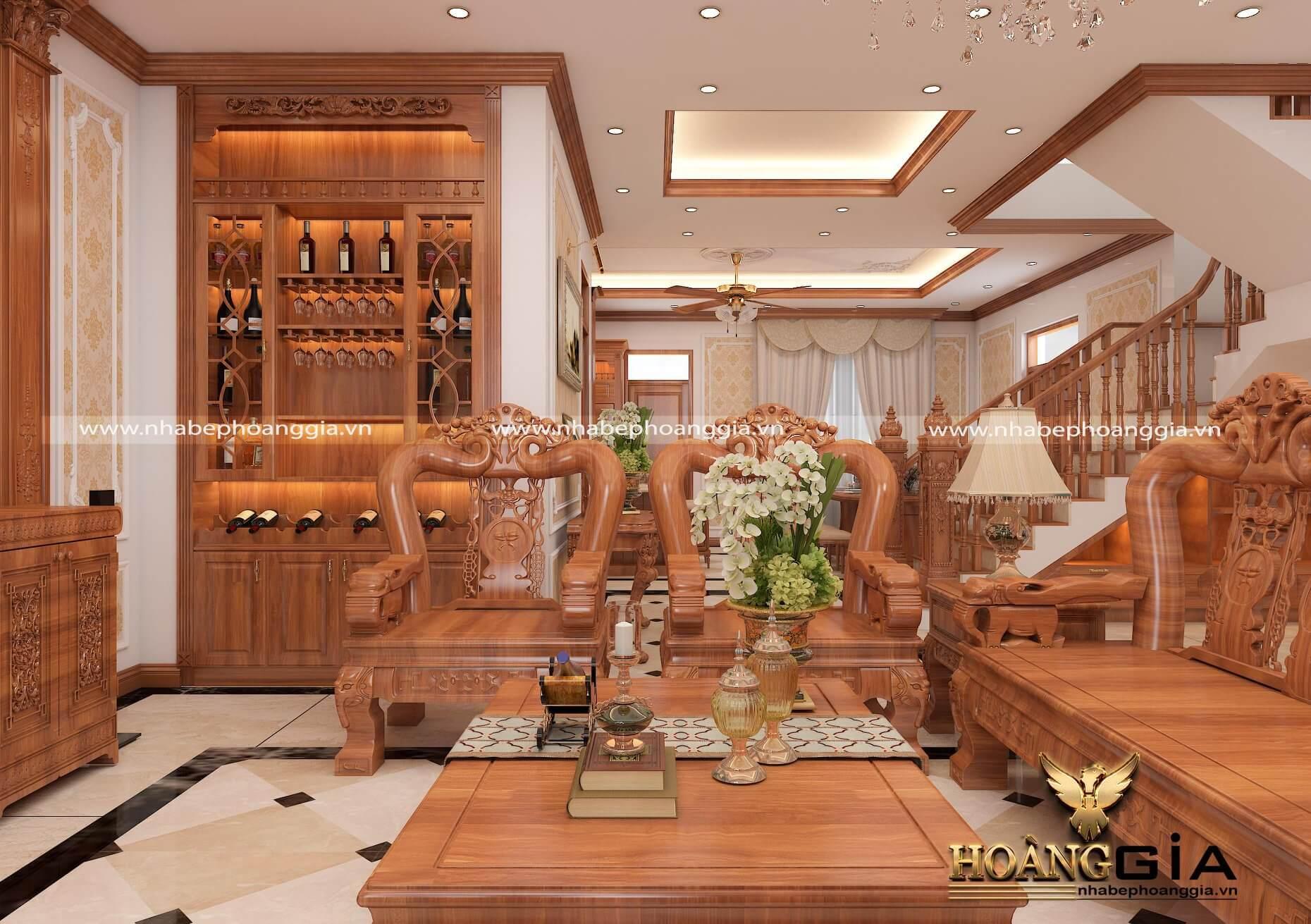 mẫu phòng khách gỗ tự nhiên